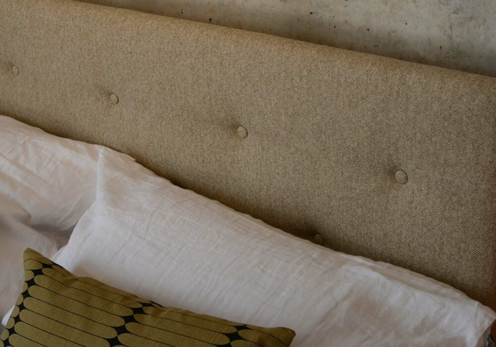 Arran bed buttoned padded headboard in wool parquet fabric