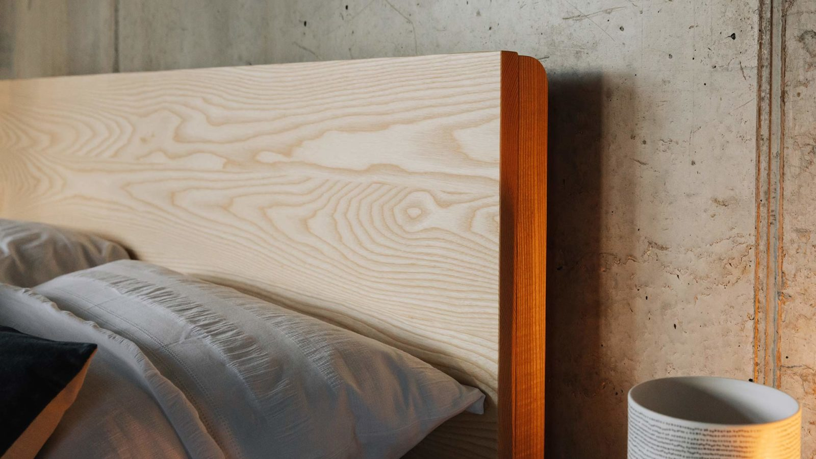 A closer view of the Bamford wooden bed headboard made from solid Ash