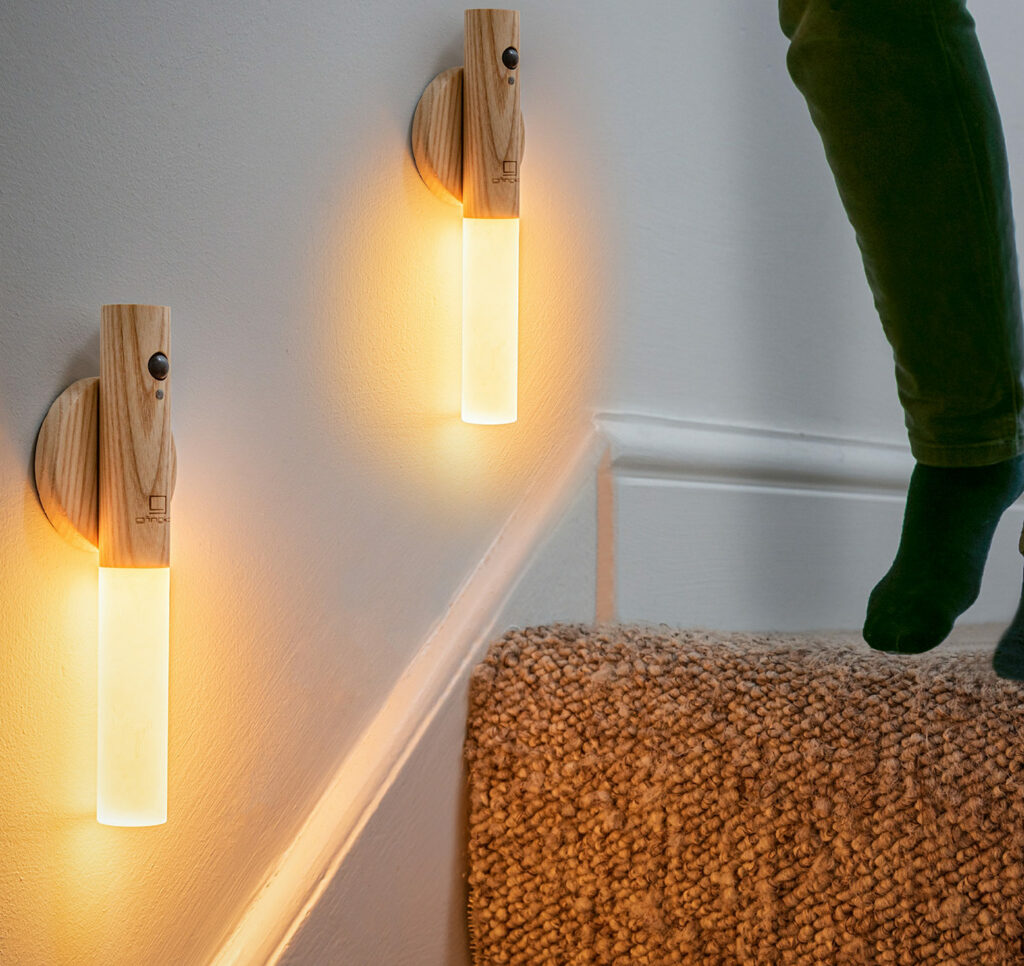 ash wood chargeable table or wall light with optional movement sensor, no wiring required