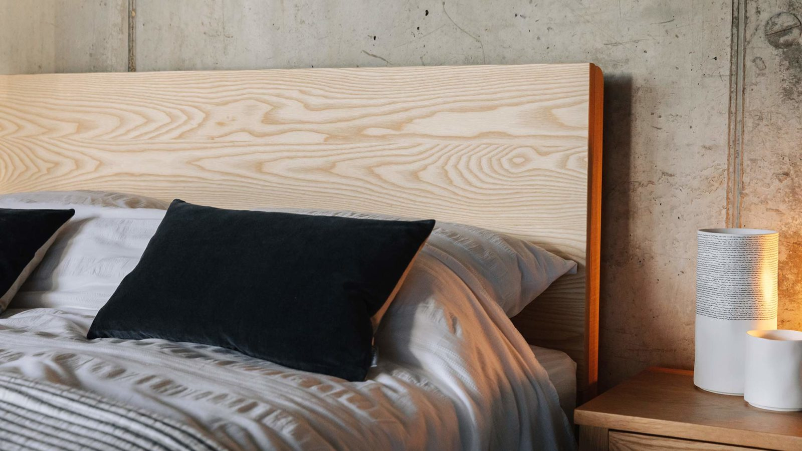 A closer look at the Bamford wooden bed solid Ash headboard