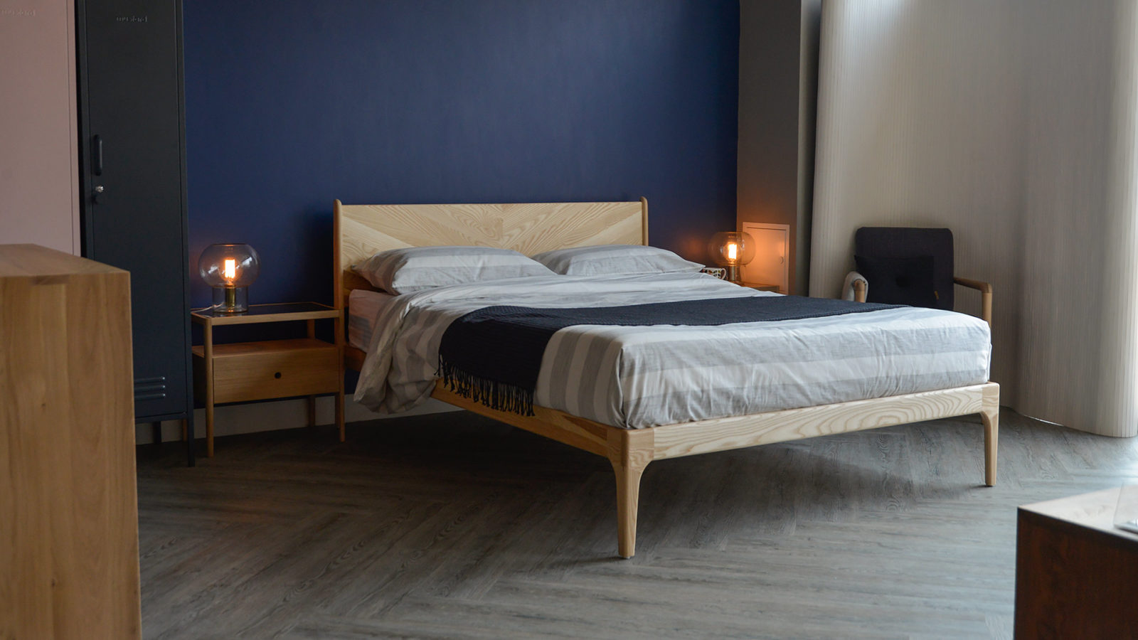 Mid-century style updated - the Hoxton bed with Herringbone headboard made in solid Ash.