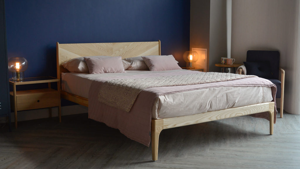 Hand made wooden Hoxton Bed a mid-century style bed shown here in Ash and Kingsize.