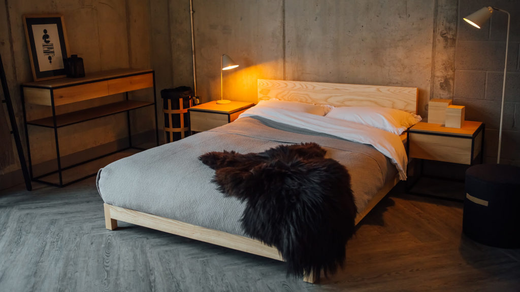sonora bed with sheepskin throw