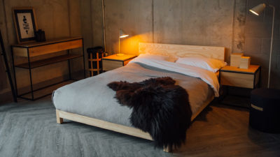 ash-sonora-bed-with-black-sheepskin-throw