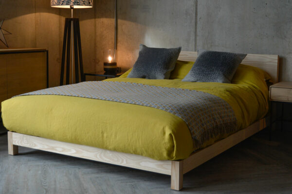 Sonora a contemporary chunky low wooden bed, here in Ash