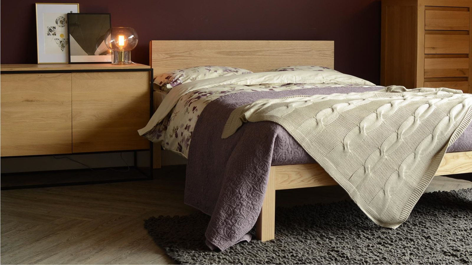Chunky solid wood Kingsize Tibet bed in ash with monolit cabinet