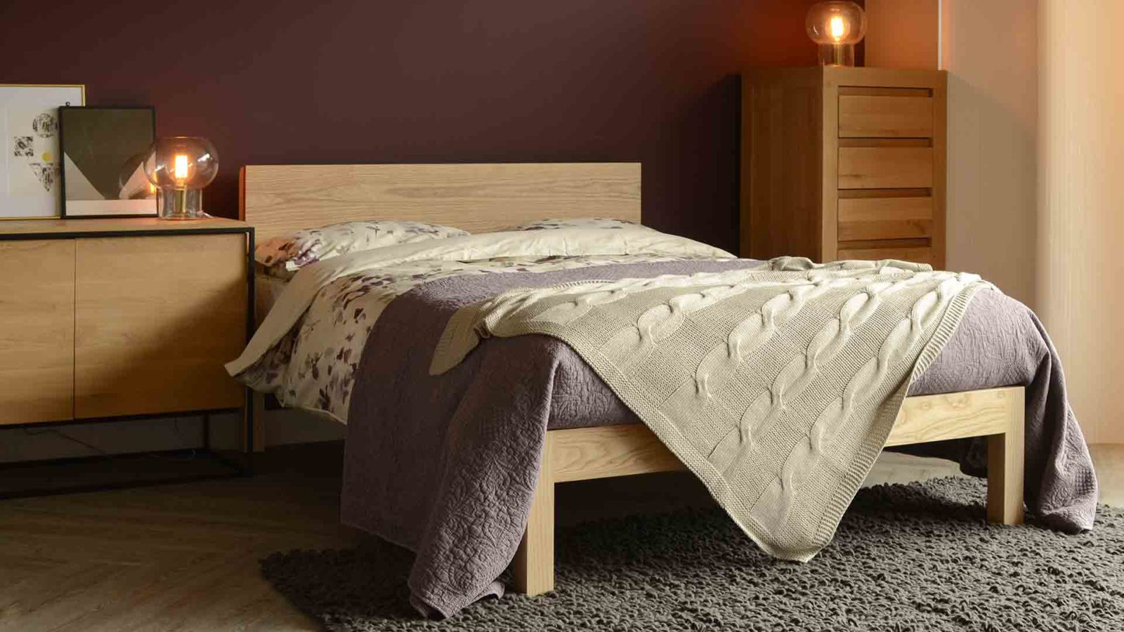 Chunky modern solid wood Tibet bed in ash