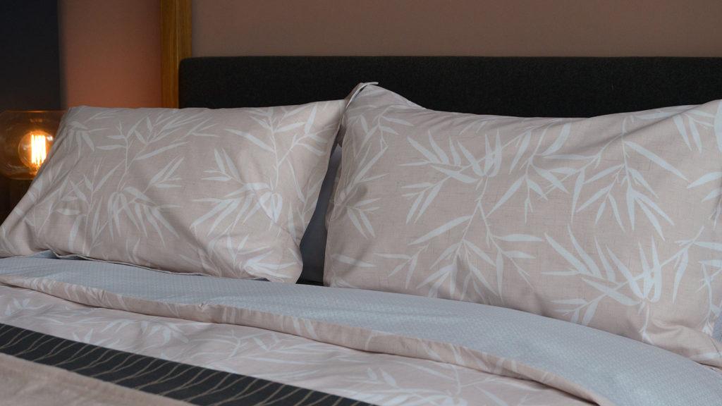bamboo-print, warm blush pink duvet-set