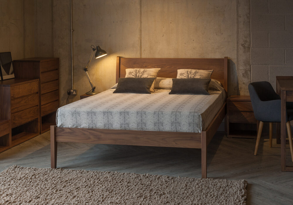Walnut bedroom furniture, our classic wooden Zanskar bed with Cube bedroom storage chests.