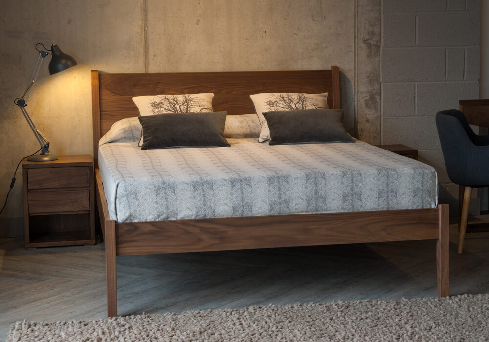 Solid wooden Classic Zanskar Bed shown in Walnut and available to order in a range of wood options.