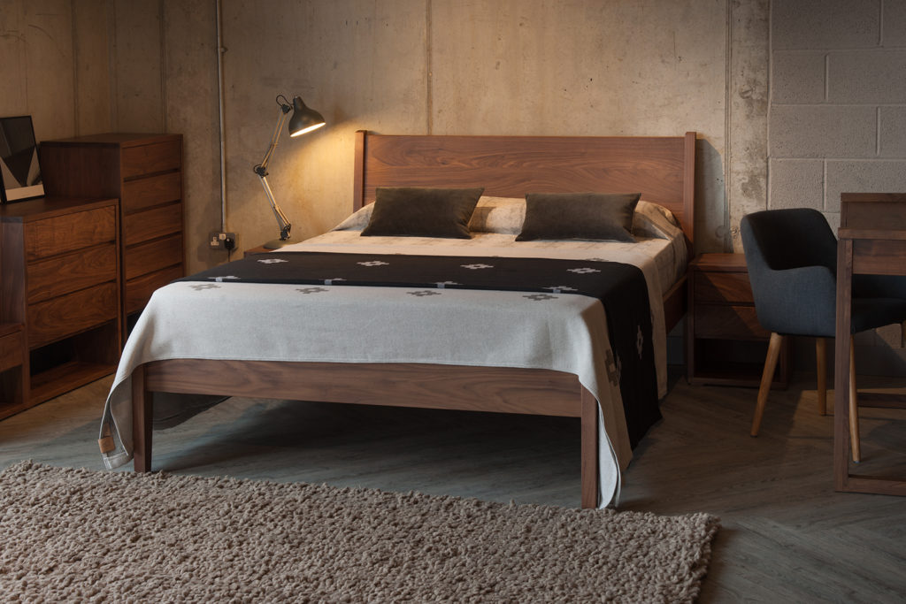 Walnut Zanskar classic bed hand made in uk in a range of bedsizes and a choice of woods.