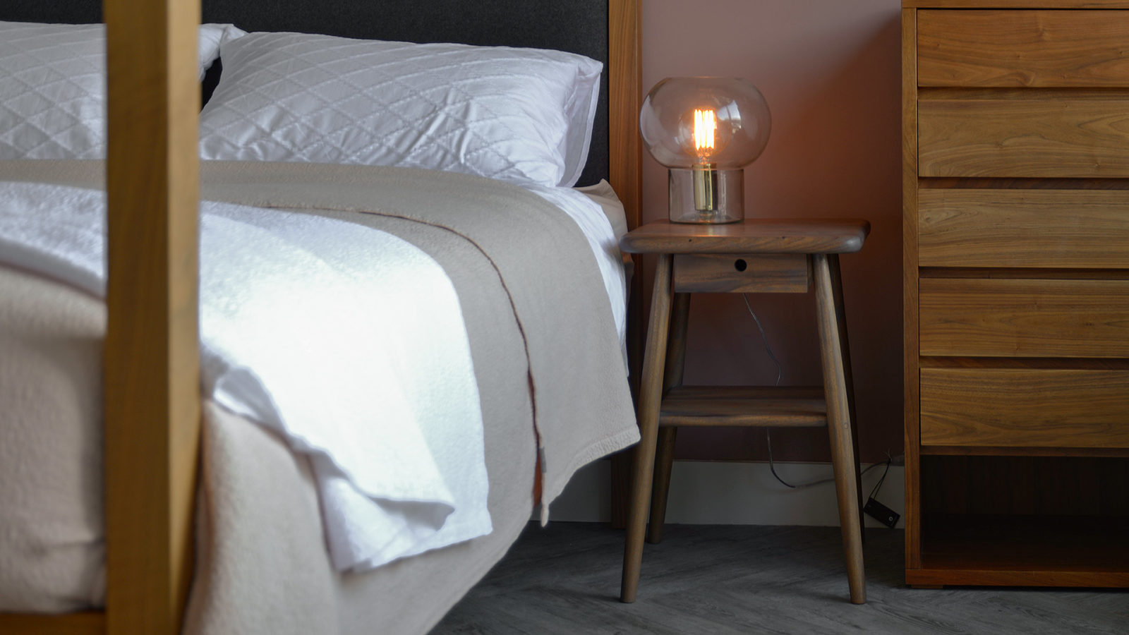 Bedside Table with Drawer and Shelf - mid century look bedside tables