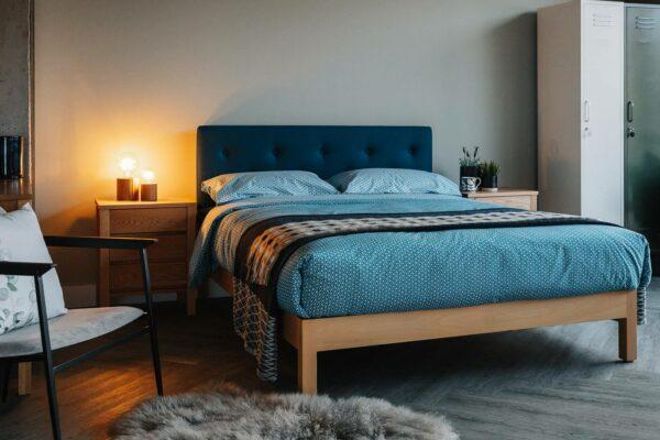 Beech Arran bed with Teal headboard