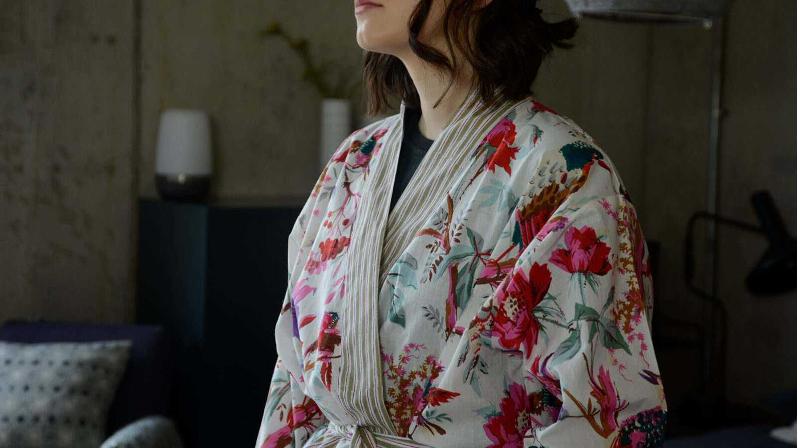 a closer view of our ivory and deep pink Birds and flowers print light cotton robe