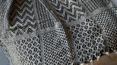 Black and Cream Throw - Patchwrok Pattern