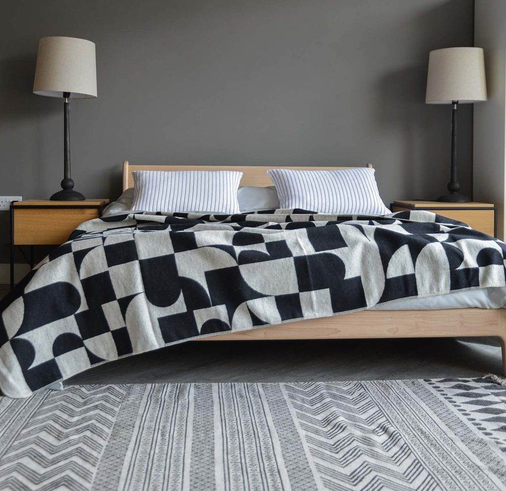 Bauhaus style soft cotton bedspread