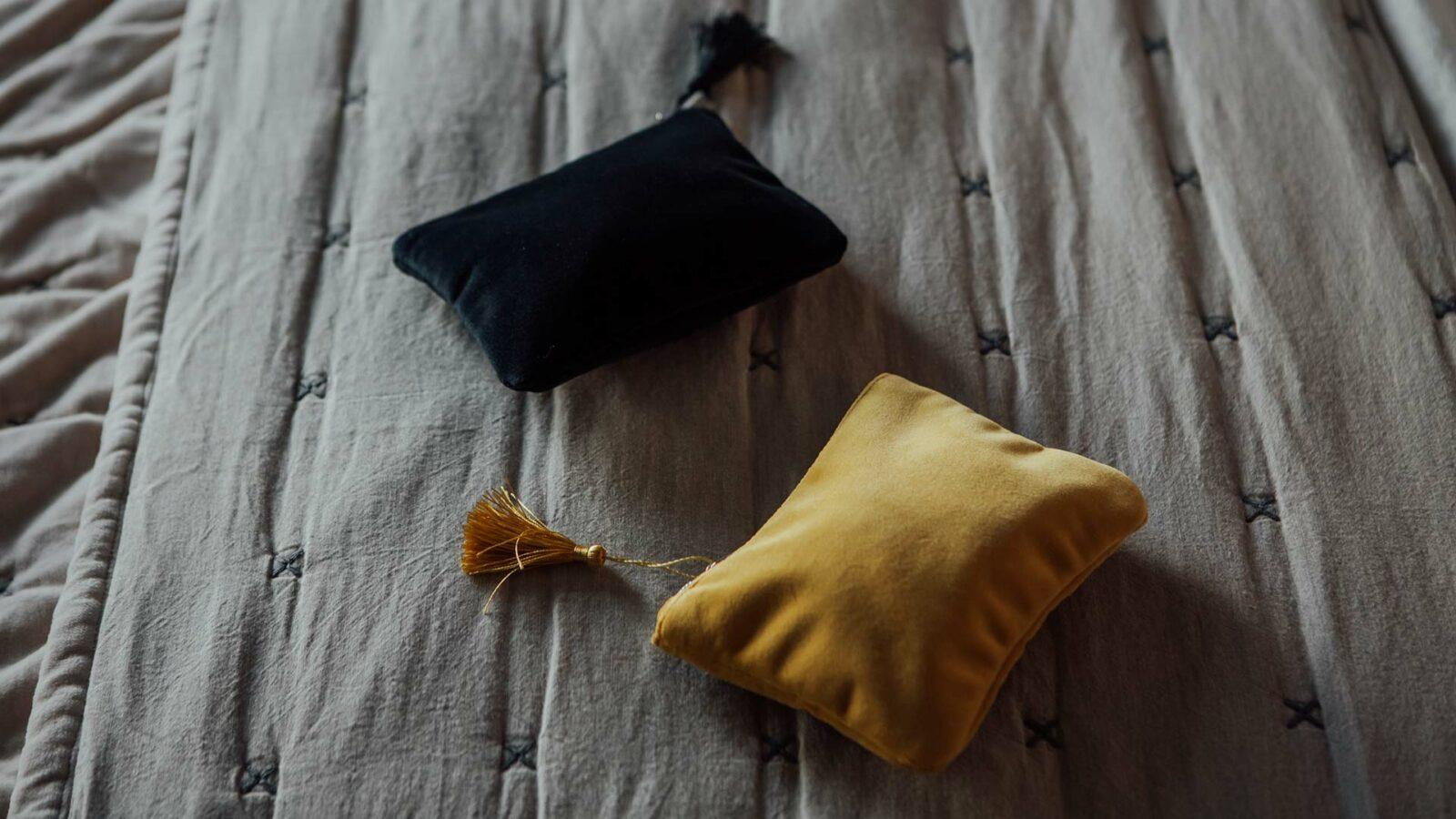 velvet zipped purses in gold or black