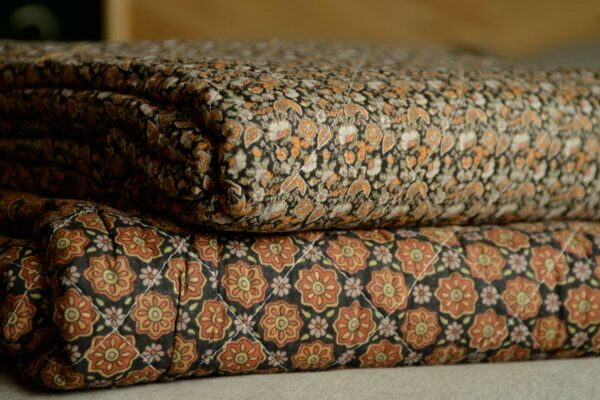 Black Quilted Throws with Floral Print
