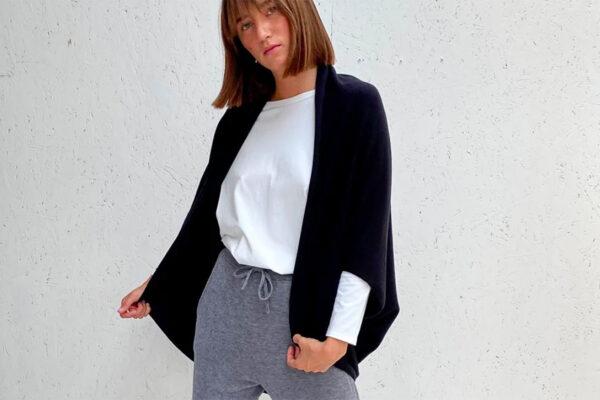 knitted shrug in black