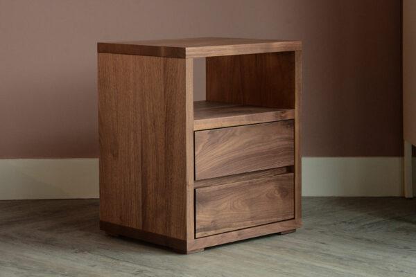 walnut 2 drawer shelf table