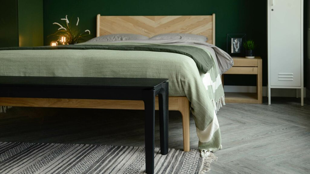black painted solid oak bench or end of bed table