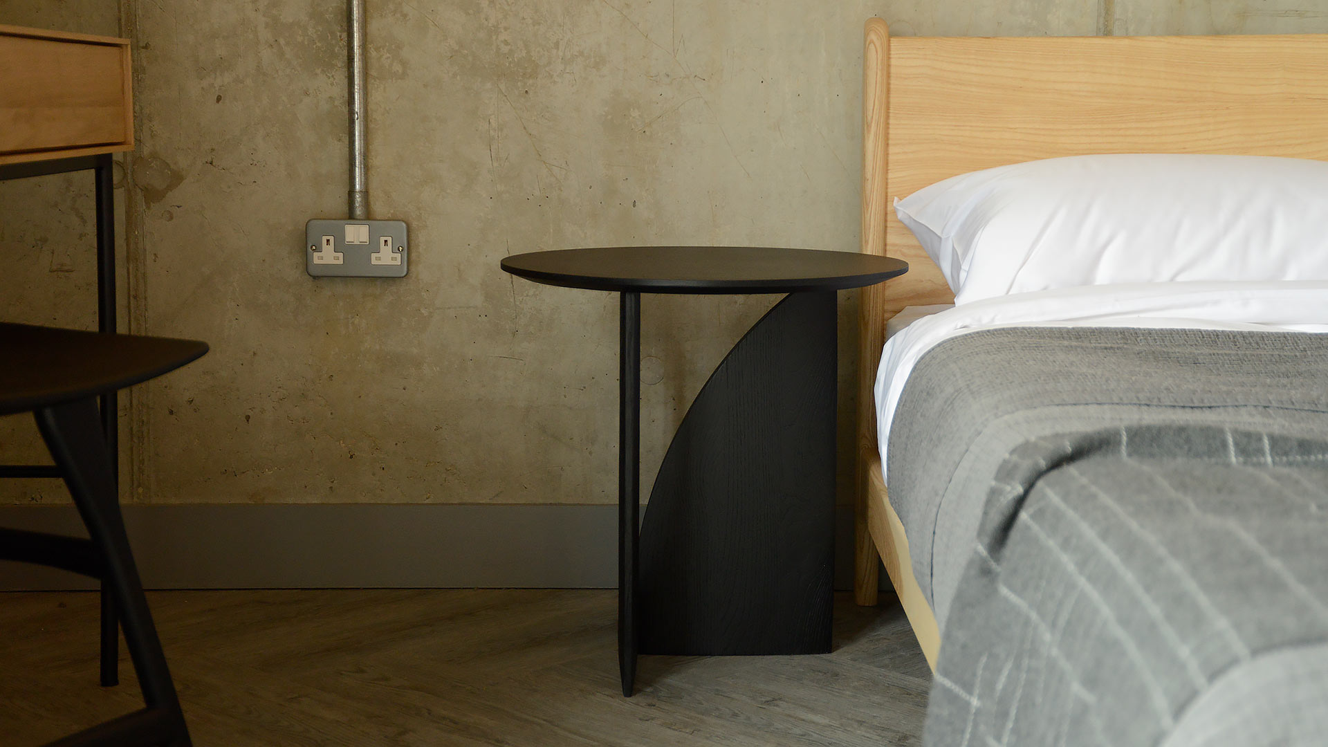 Modern Geometric Side Table Black Oak Natural Bed Company