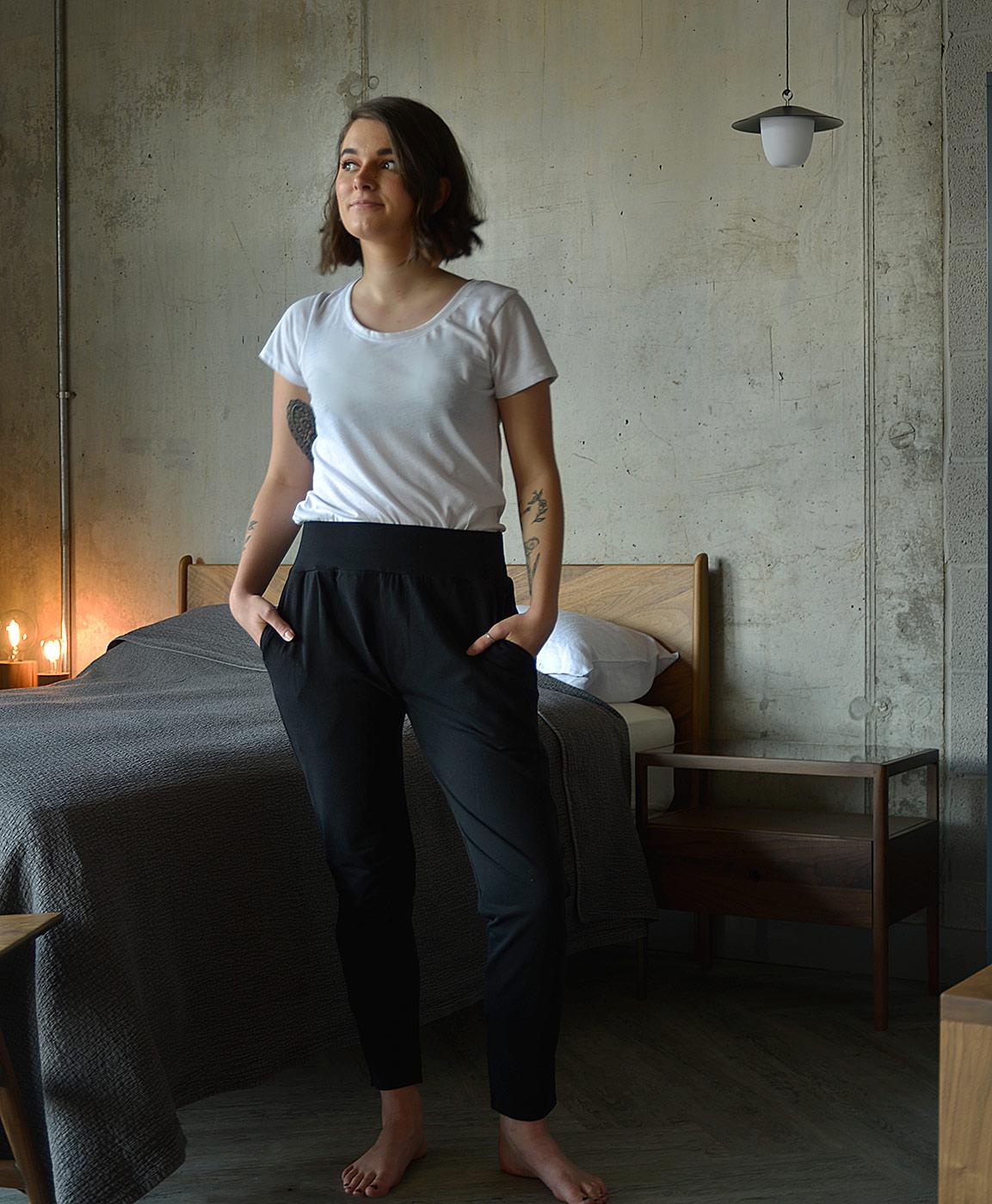 black drop-crotch trousers