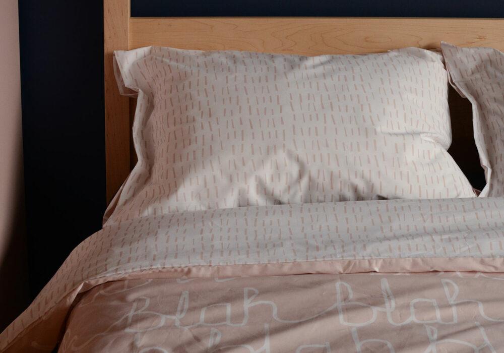 blush pink duvet set - blah blah print
