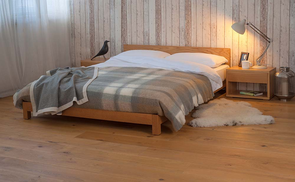 Cosy bedroom with our Nevada Low wooden Bed in Oak