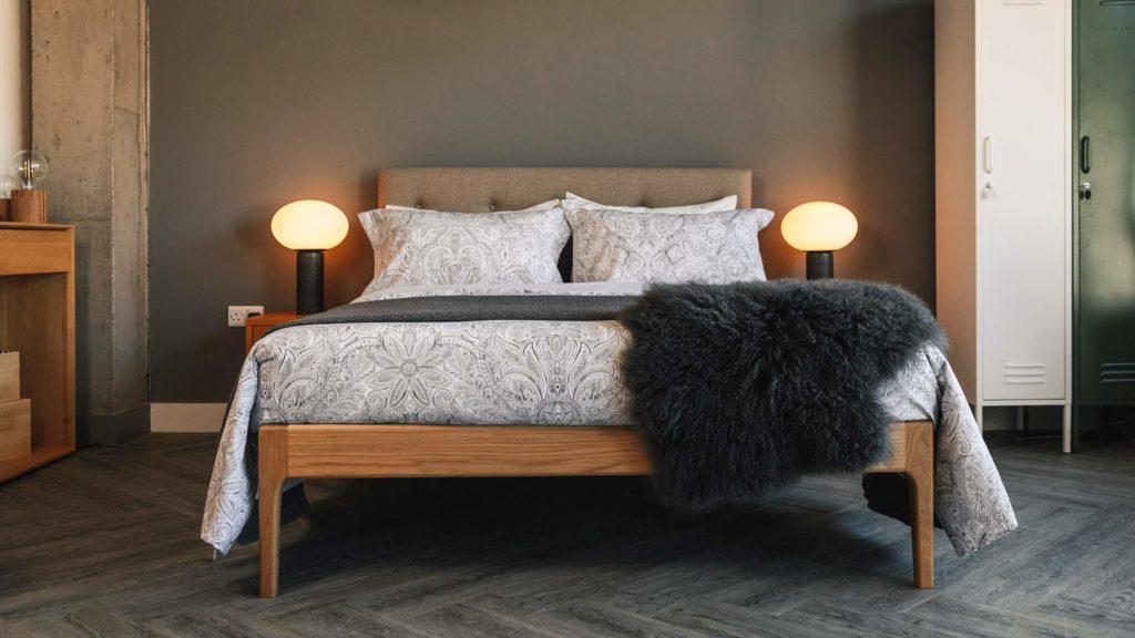Nordic look grey bedroom with Oak Bloomsbury bed in Oak