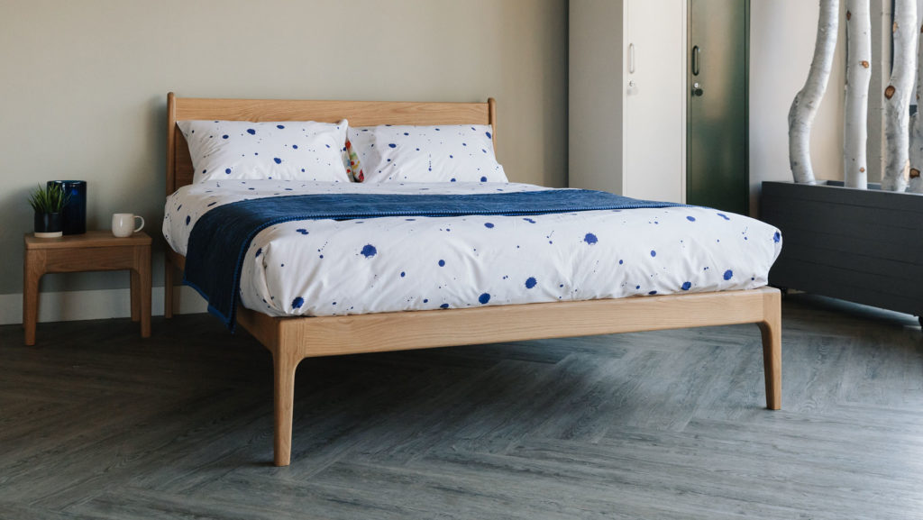 splash print bedding on oak Camden