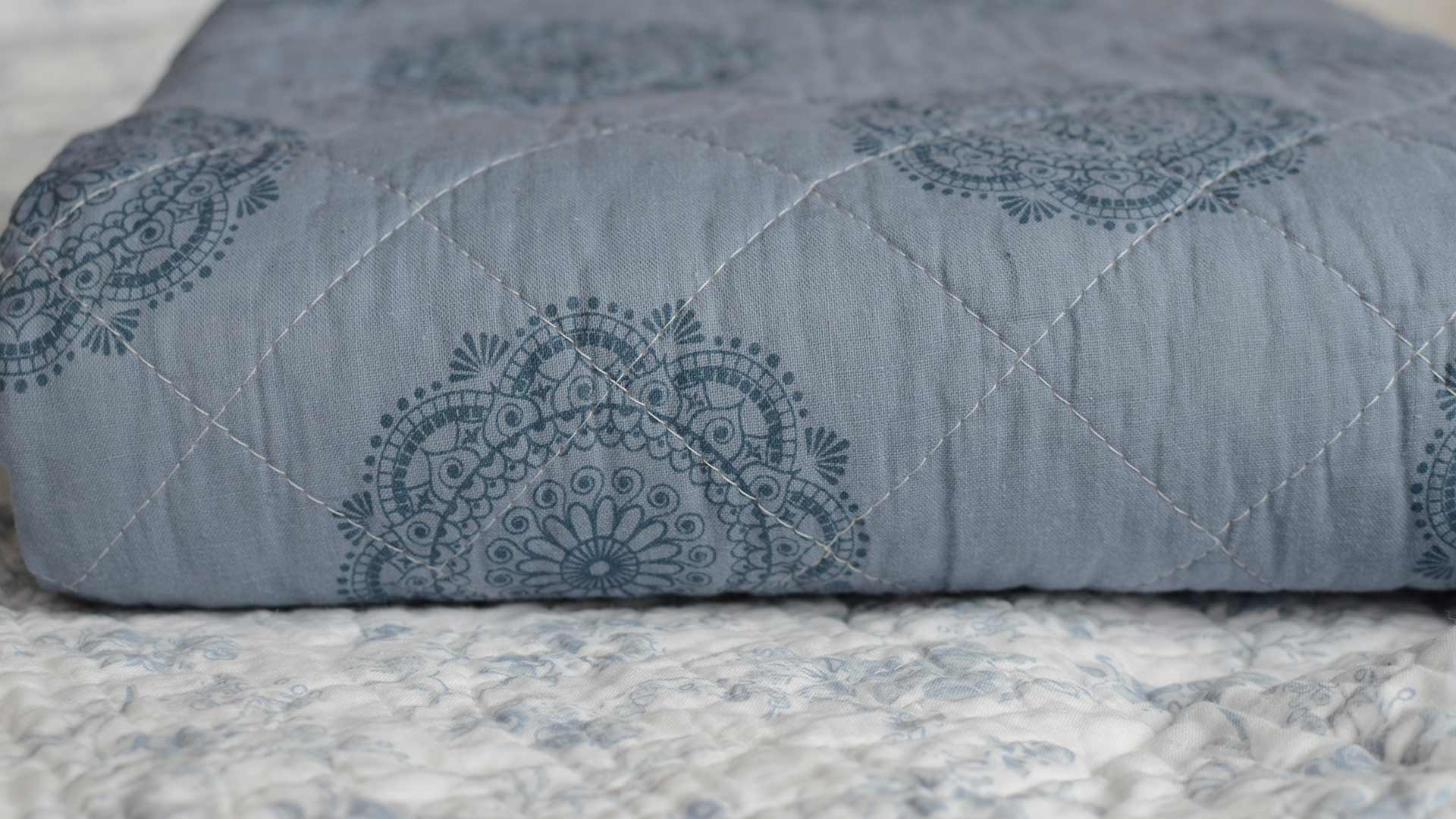 Blue Quilted Throw Blankets Natural Bed Company