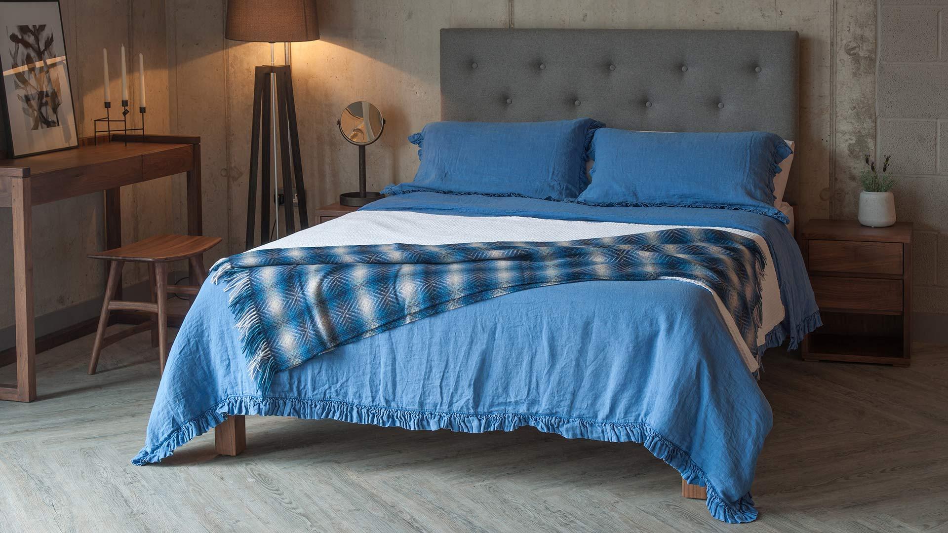blue linen bedding on Skye bed