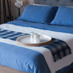 blue linen bedding with waffle throw & bronte throw
