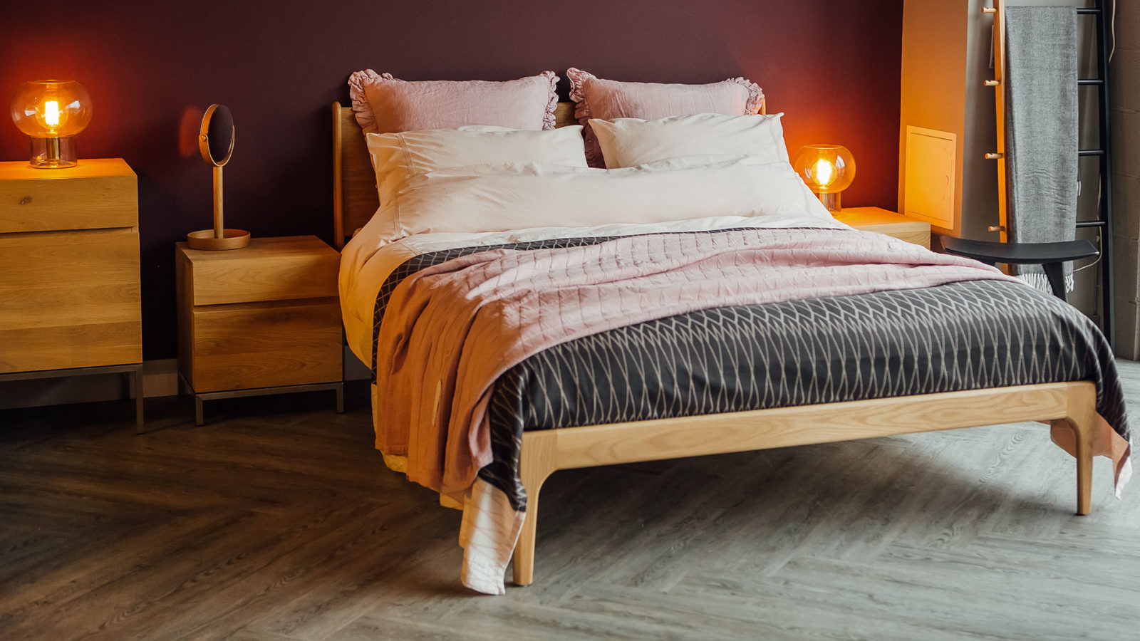 blush and grey bedding on our Camden Wooden bed