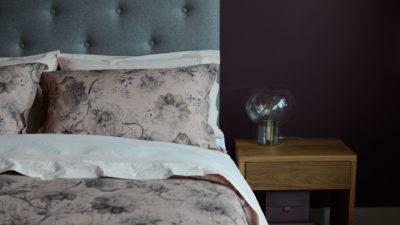blush-linen blend bedding-on-Skye-bed