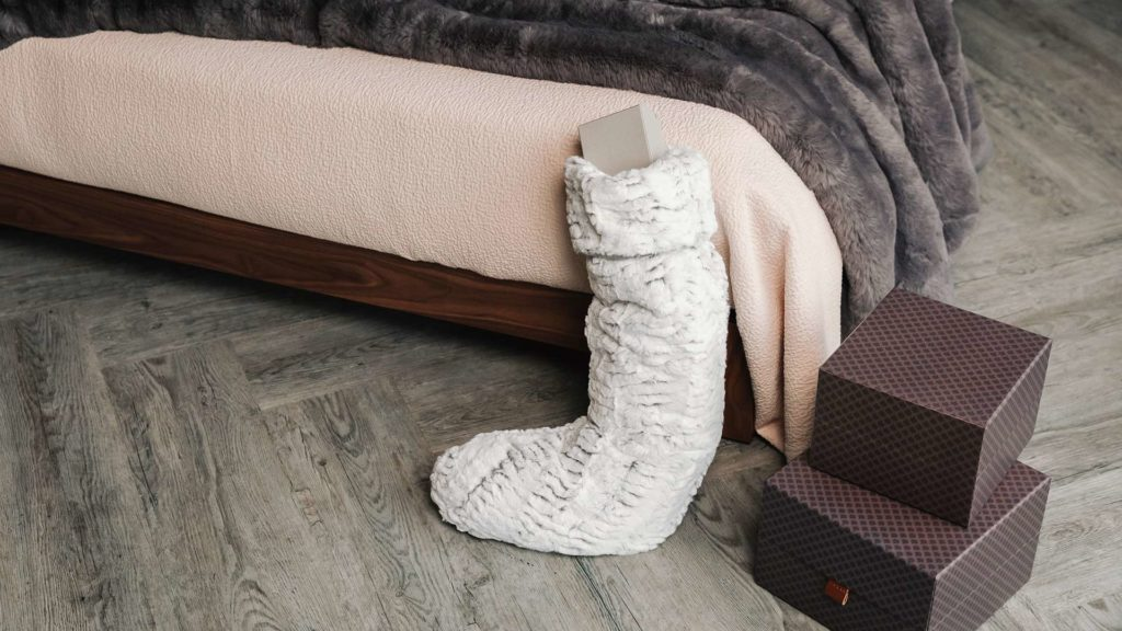 Christmas bedroom with faux fur xmas stocking