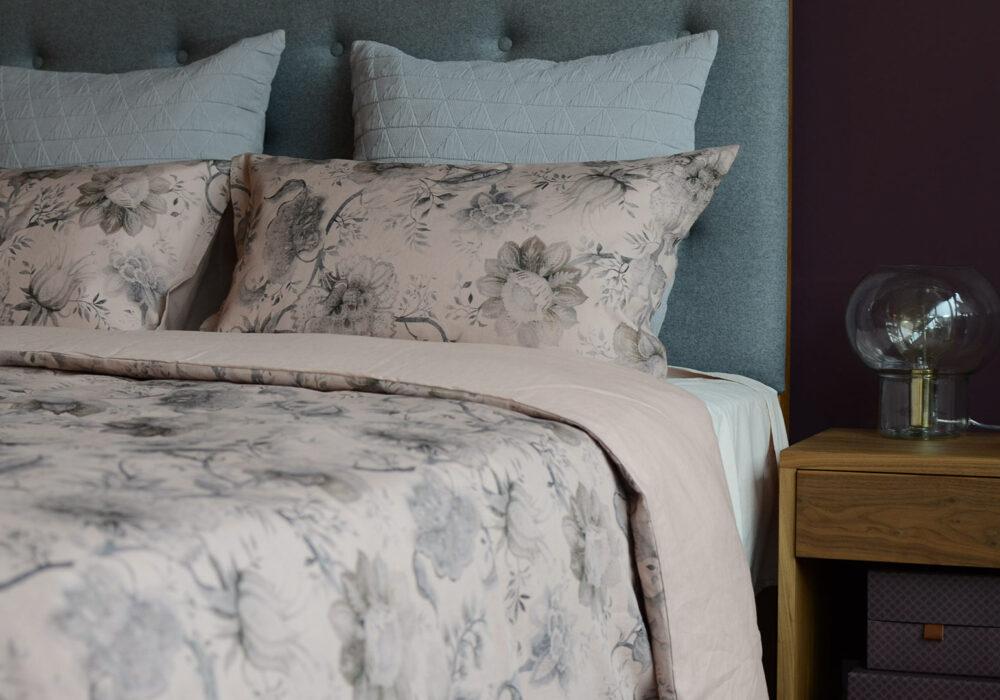 blush-vintage print-bedding-with-grey-stockholm-cushions