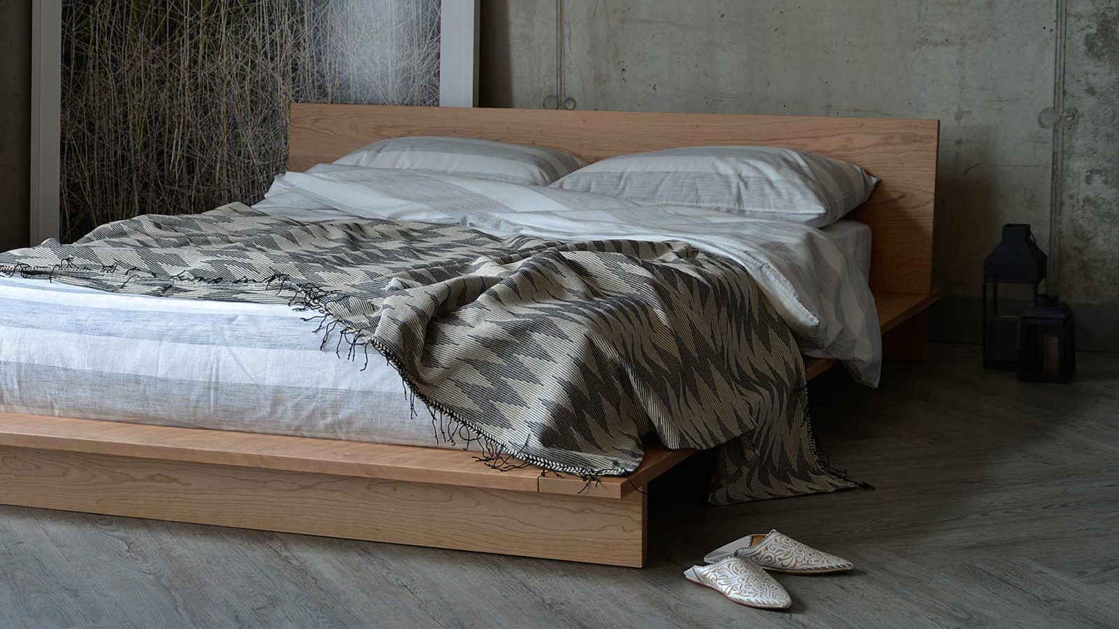 Contemporary platform style low bed the Oregon, here shown in Cherry