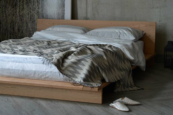 striped cotton bedding and cherry Oregon bed