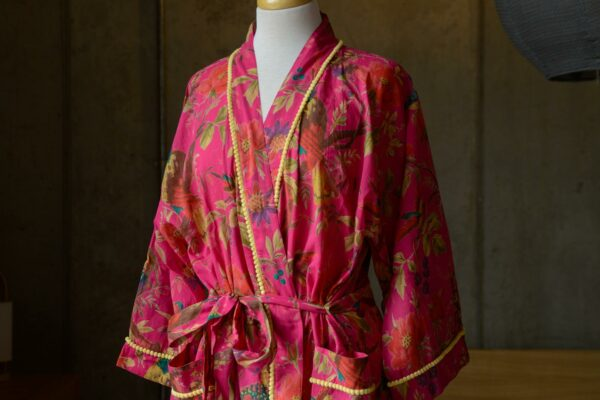 hot pink cotton robe