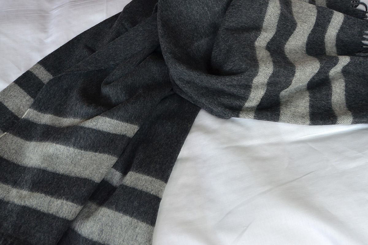 Charcoal and Silver Striped Throw - Seville Design