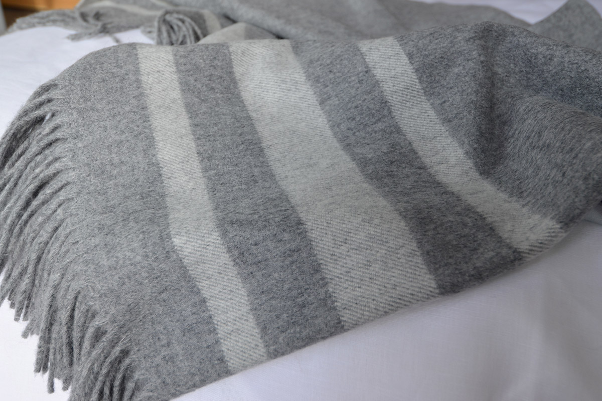 Bronte Seville Throw in Silver Grey Wool