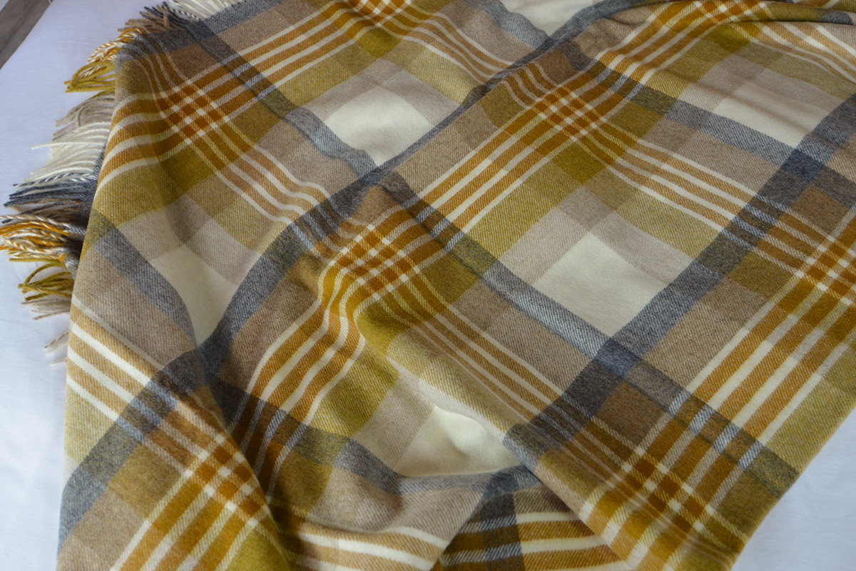 Wool Throw in Gold & Grey - Melbourne Check Design