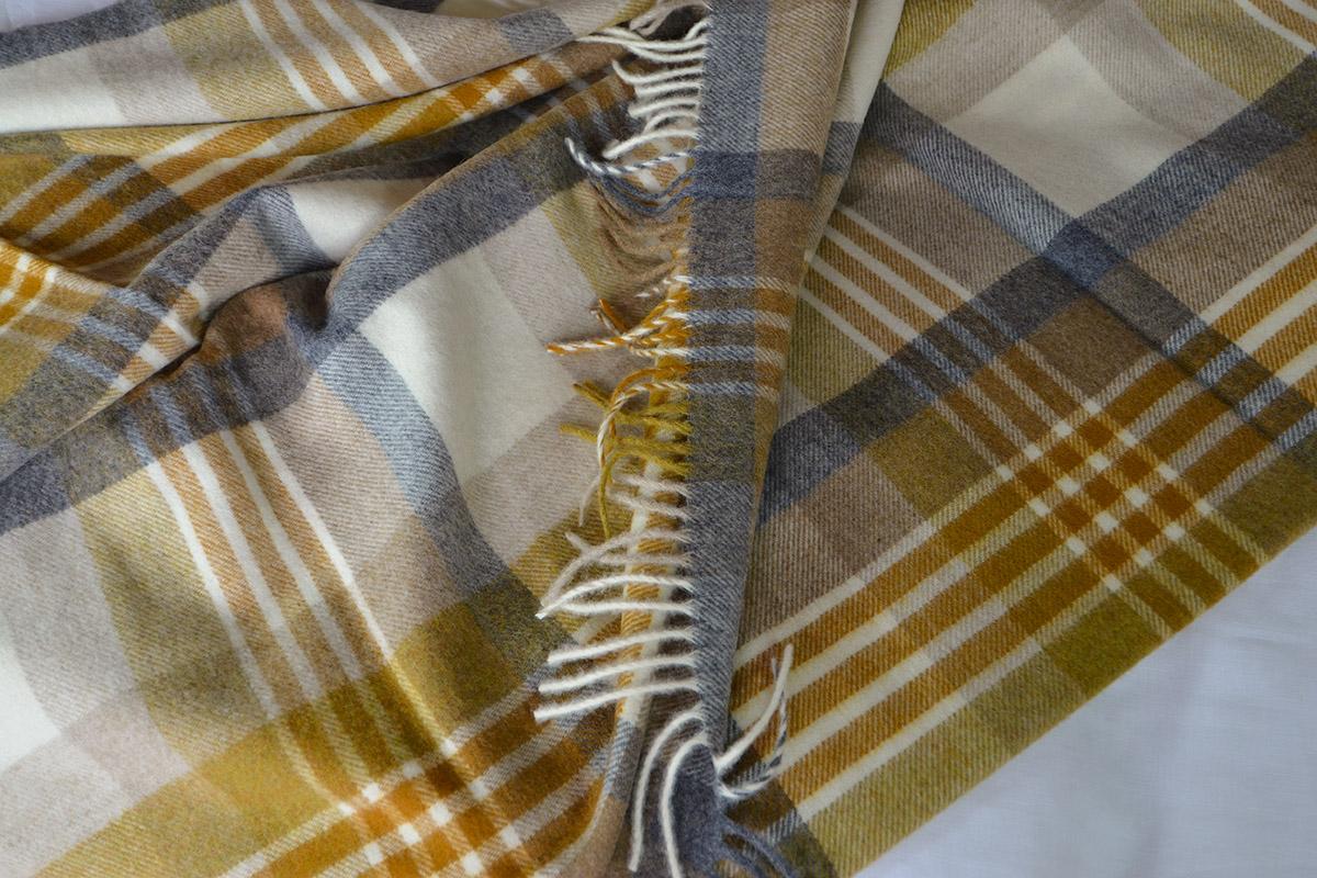 Bronte Throws - Melbourne Check Design in Gold & Grey