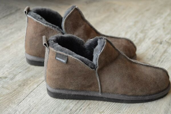 cosy chocolate brown sheepskin slippers for women