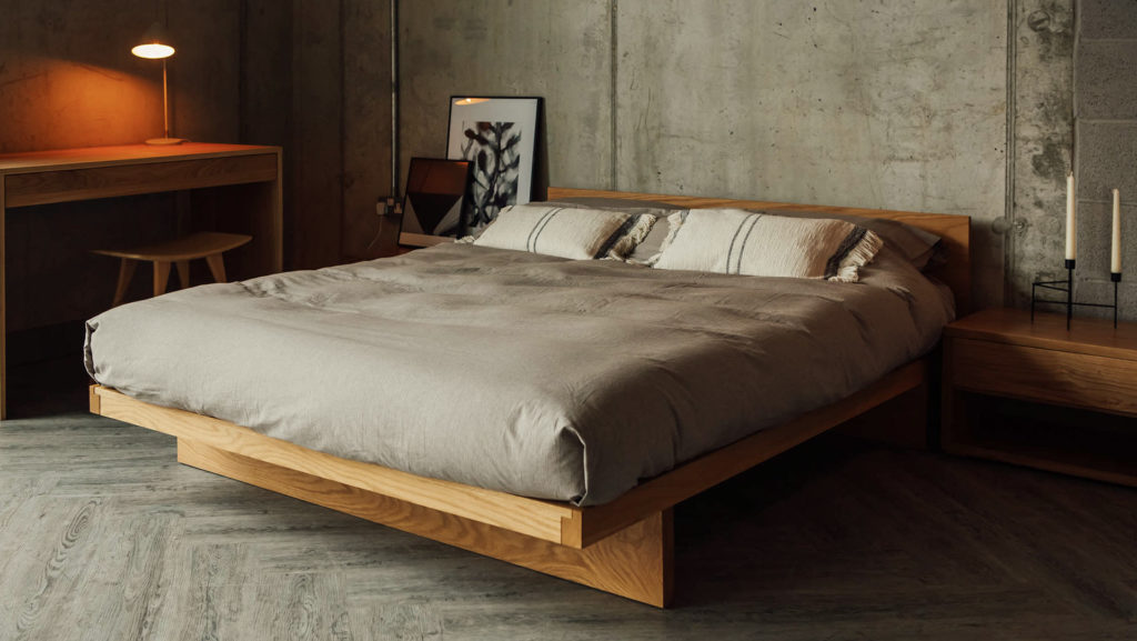 brown melange Organic Duvet cover and pillowcases on our solid wood Kyoto bed in Oak