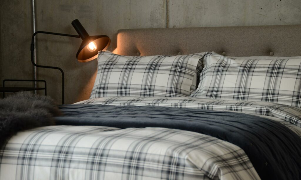 winter bedding choice brushed cotton in ivory and grey check.