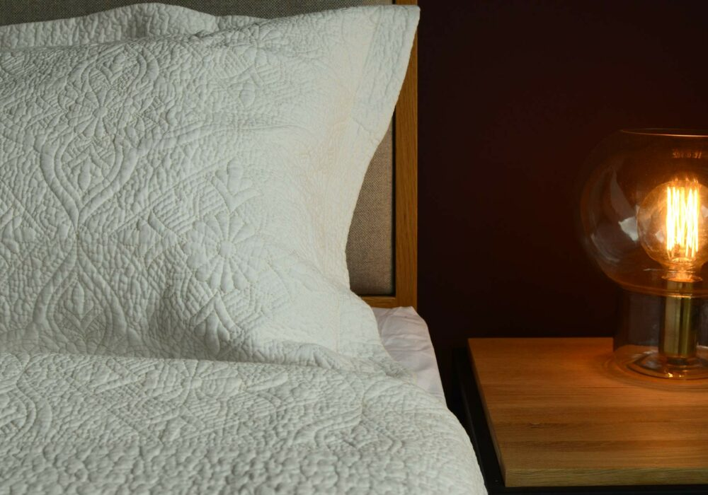 Cream Embroidered Bedspread with Pillowcases