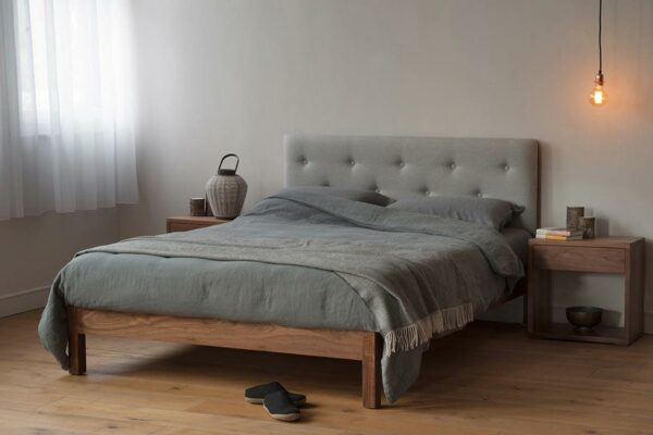 buttoned-headboard-bed-charcoal linen bedding